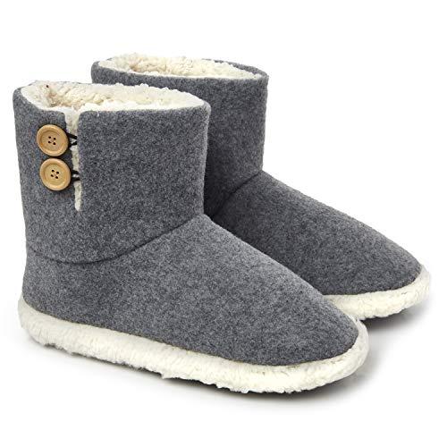 Dunlop Zapatillas Casa Hombre | Zapatillas Altas Calienta Pies Invierno Cerradas Hombre | Pantuflas de Casa para Hombre | Zapatillas Forradas de Borreguito Suela de Goma Dura (46 EU, Gris)