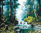 Pintura digital para adultos Kit de pintura para adultos DIY bosque de pinos Pintura de lienzo de arte preimpreso para principiantes en pintura infantil-1
