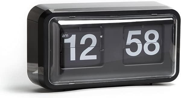 自动翻转时钟 10 5X6X3 2 英寸壁挂桌面时钟复古无噪音装饰带高级塑料移动时钟办公室家用酒吧现代客厅装饰漂亮的黑色橱柜
