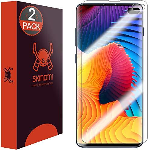 Skinomi TechSkin - Schutzfolie kompatibel mit Samsung Galaxy S10 Plus (S10+ 6.4 Zoll) - deckt den kompletten Bildschirm (Edge to Edge Coverage), 2er Pack
