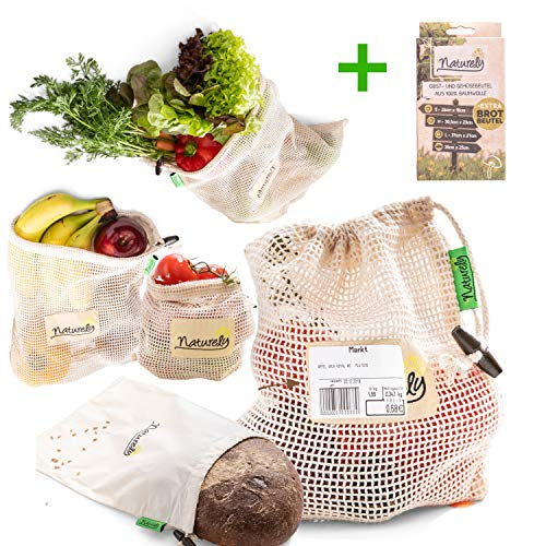 EarthMe Gemüsenetze für den plastikfreien Einkauf aus nachhaltiger Baumwolle (inkl Brotbeutel)   Überall Akzeptiert   Sticker-Klebefläche   plastikfreie Obstbeutel