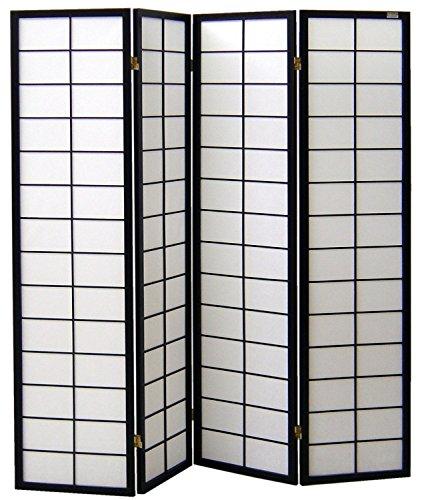 cinius Pantalla de Madera y Papel de arroz con 4 Puertas. Modelo Nanji Color Negro