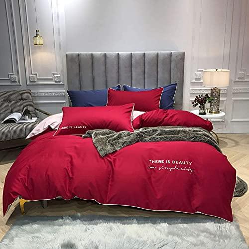 Juego de sábanas bordadas de jacquard de satén de 4 piezas, suave 100% algodón egipcio, calidad hotelera, incluye funda nórdica X1, fundas de almohada X2 y...