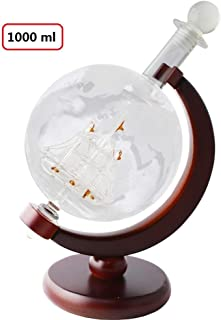 Whiskey Globe Decanter (Large 1000mL) with Dark Finished Wood Stand and Bar Funnel, Perfect Gift Set for Liquor, Spirits, Bourbon, Scotch, Rum, Vodka or Wine