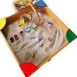 JFF Grande Sandbox in Legno per Bambini da 35,5 X 35,5 Pollici per Cortile, Giochi All'aperto/Abete Cinese, Protezione dalla Sabbia, Rivestimento Inferiore