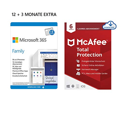 Microsoft 365 Family 12+3 Monate Abonnement | 6 Nutzer | Mehrere PCs/Macs, Tablets/mobile Geräte | Download Code + McAfee Total Protection 2020 | 6 Geräte | 12 Monate Abonnement | Download Code