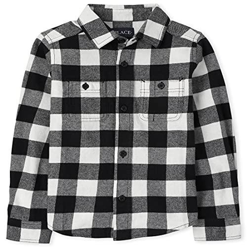 The Children's Place Boys' Long Sleeve Buffalo Plaid Flannel Button Down Shirt, Black, Medium