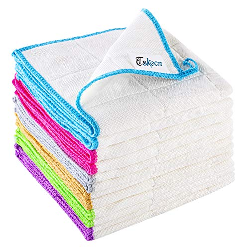 """TSKECN Bamboo Fiber Cleaning Cloth,12 Pcs Strong Absorbent Soft Kitchen Towels with Hanging Loop, Dishcloths Tea Towel,for House, Kitchen, Car, Window, (12"""" x 12"""")"""