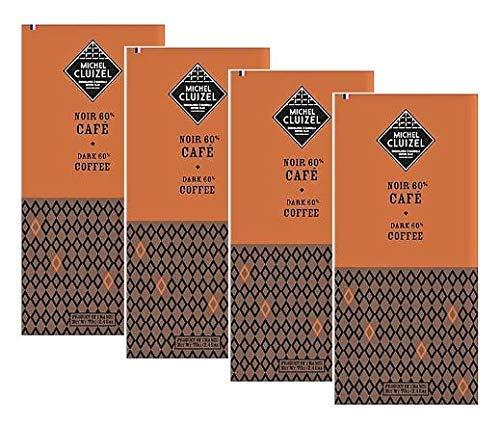 Michel Cluizel Barra de chocolate negro con café, cacao, 60% puro, manteca de cacao, vainilla Bourbon sin soja y sabores, 4 x 70 gramos