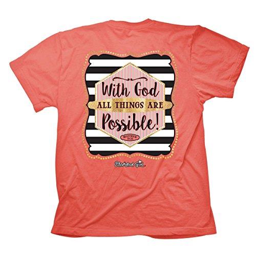 Todas as coisas em T da Cherished Girl são possíveis, seda coral, pequena