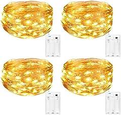 Kolpop Guirnalda Luces Pilas, Luces LED Pilas[4 PCS], Luces LED Habitacion 5m 50 LED Luces de Cadena Micro con Pilas de Alambre de Cobre para Decoración Interior Bodas Fiesta de Navidad