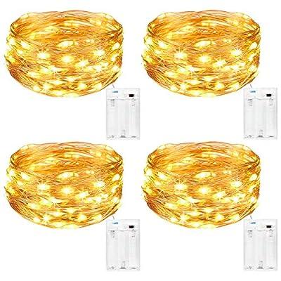 [4Pack 50 luces de hadas LED]: Cada luz de cadena decorativa es con alambre de cobre moldeable de 5 M / 16,4 pies y 50 LED mini que brilla intensamente, utilizados para la decoración de año nuevo de mesa, dormitorio, boda, fiesta, Navidad. [Fácil de ...