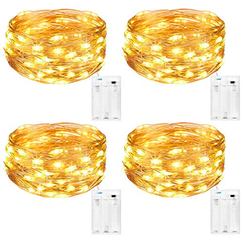 Kolpop Fairy Lights Battery Indoor [4 Pack], 5m 50 LED Copper Wire Battery Operated Micro String Lights for Xmas Bedroom Wedding Birthday Party DIY Decoration (Warm White)