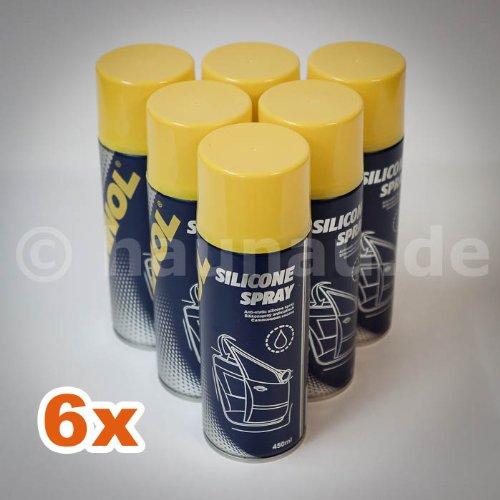 MANNOL 9963 Silikonspray Gummipflege, 6x450ml