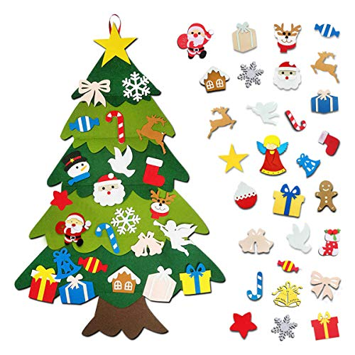 LoiStu DIY Felt Christmas Tree with 30pcs Ornaments, Xmas Gifts for Kids New Year Handmade Christmas Wall Hanging Decorations (Christmas Tree)