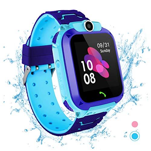 Fitfor Reloj Inteligente para Niños - IP67 Impermeable LBS Tracker Reloj de Pulsera a Prueba Smartwatch de del Teléfono SOS Llamada Chat de Voz Cámara de Alarma de 3-14 Años Regalo Vumpleaños