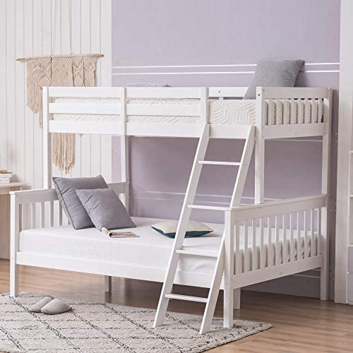 JOYMOR Twin Over Full Bunk Bed for Kids Children Teens Solid Hardwood Bunk Beds with Ladder product image