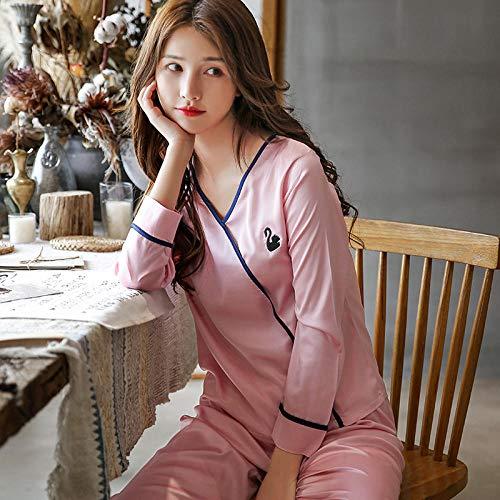 Frühling und Herbst Pyjama Frauen Sommer Eis Seide Dünnschliff Seide Langarm-Hosen können außerhalb des Kopfes zu Hause Kleidung zweiteilige @ L_ [33017] Bean Paste Powder getragen werden