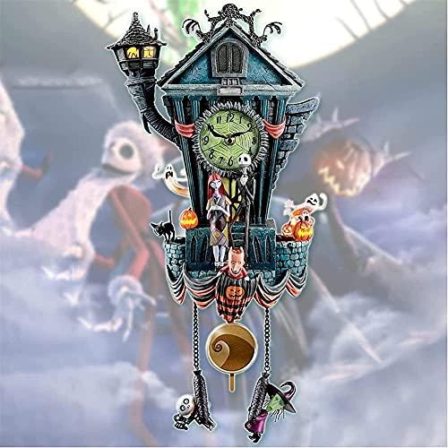 VVDQELLA Relógio de parede estátua de decoração, relógio de cuco, ornamento de parede O Estranho Mundo de Jack, ornamentos de Halloween para casa, sala de estar e quarto (multicolorido)