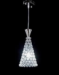 Diamond Life 1-light Chrome Finish Metal Shade Crystal Chandelier Hanging Pendant Ceiling Lamp Fixture, #8006
