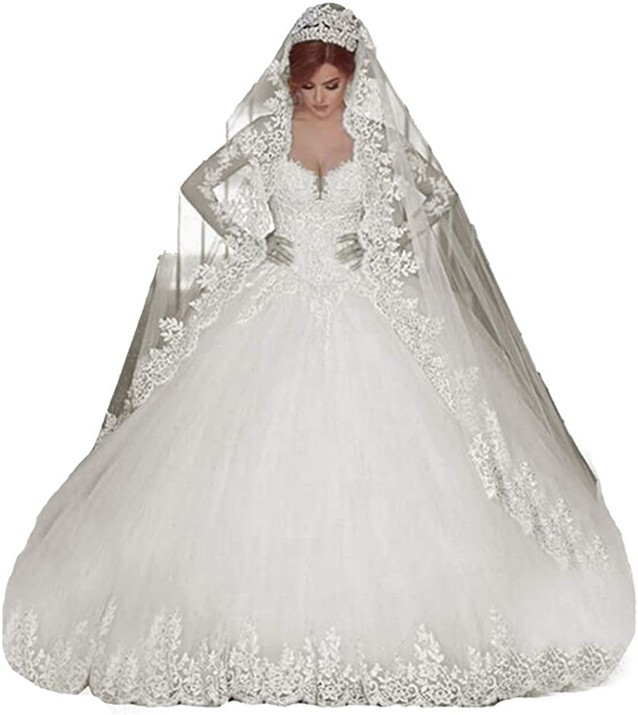 ANGELA Women's Long Sleeves Wedding Dresses for Bride 2021 Long Ball Gown Bride Gowns Appliques