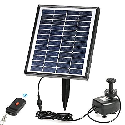 Anself Pompe à Eau Intégrée 12V 5W Solar Power Brushless Batterie de Stockage Télécommande LED Submersible Pompe Fontaine pour Etang de Jardin