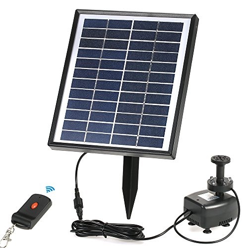 Anself Solar Fountain Pump with LED Lighting and Remote Control, Battery Backup, 12V 5W Solar Power Brushless Water Pump, for Garden Pond Fountains Landscape