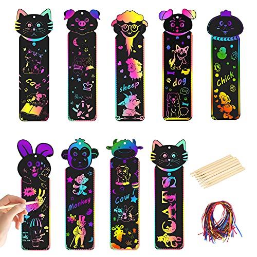 40 fogli Segnalibri Scratch Art MEZOOM Carta da graffiare con animali Etichetta regalo arcobaleno fai da te per bambini per compleanni dei bambini Scuole Corsi di artigianato