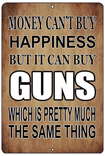 Rogue River Tactical Funny Pro Gun Metal Tin Sign Wall Decor Man Cave Bar Money Happiness Guns