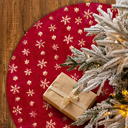 Christmas Tree Skirt-48 Inches Merry Christmas Tree Skirt, Large Red Tree Skirt Double Layers Plush Faux Fur and Gold Snowflake, Rustic Xmas Tree Decoration for Holiday Party New Year Indoor Ornaments