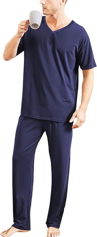 SUNNYME Mens Sleepwear Sets Short Sleeve Sleep Shirts Pajama Pants Plus Size Pjs Soft Two Piece Loungewear