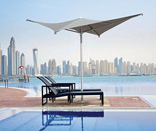 Sonnenschirm–Vela, quadratisch, 2x 2m Acryl Dralon 350g/m2+ Fuß aus lackiertem Stahl Grau–35kg Blanc A7