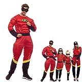 Disfraz Party Héroe Hombre【Tallas Adultos de S a L】[Talla L ] Mono Disfraces Superhéroes Películas con Antifaz Fiesta Disfraz Carnaval Actuaciones Desfiles Festivales