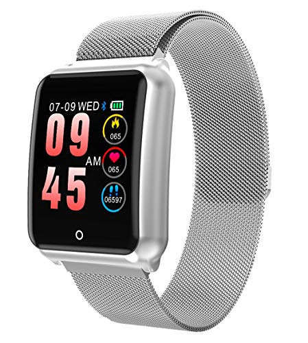 GOKOO Smart Watch for Women Men with Heart Rate Blood Pressure Sleep Monitor IP67 Waterproof Activity Tracker Calorie Counter Sports Smartwatch Silver