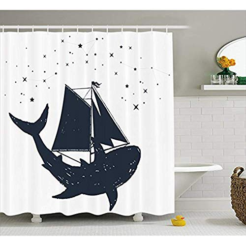 Yeuss Nautische Duschvorhang, Shark Sails mit einem Boot und Sternbild Sternen Celestial Mythological, Stoff Bad Dekor Set mit Haken, Charcoal Grey White