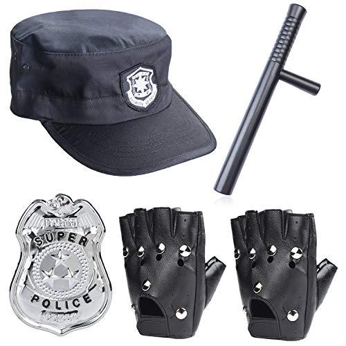 Beefunny Police Disfraz Accesorios Adultos Police Hat Badge Gloves Baton Dress Up Set para Halloween y Fiesta de polica