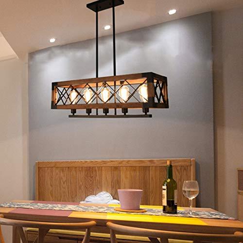 YZQ Lampadario rettangolo in Metallo, lampadario in Legno Rustico, lampadario per Sala da Pranzo Illuminazione per Fattoria Cucina Lampade a Sospensione a Isola 5 luci