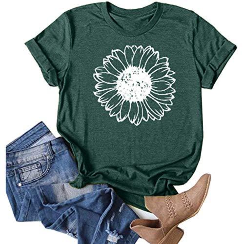 Nihewoo Women Ladies Short Sleeve T Shirts Funny Graphic Tee Top Oversized Wildflower Print Blouses Tunics Green