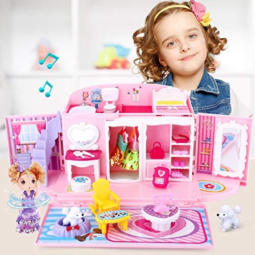 YEES Cottage Dollhouse - Juego de casa familiar portátil, diseño colorido con muebles y accesorios incluidos, juego de juguetes para niñas de 3 a 8 años