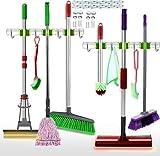 Heavy Duty Broom Holder Wall Mount Tool Organizer for Garage,Utility Tool Storage Rack Hook,Hanging Broom Organizer,Mop Holder,3 Tool Rack 4 Utility Hook Garden Tool Organizer Garage Laundry Storage