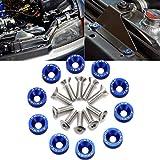 Xotic Tech 10Pcs CNC Billet Aluminum Engine Bolt Bay Screw Washer Dress Up Kit (Blue)