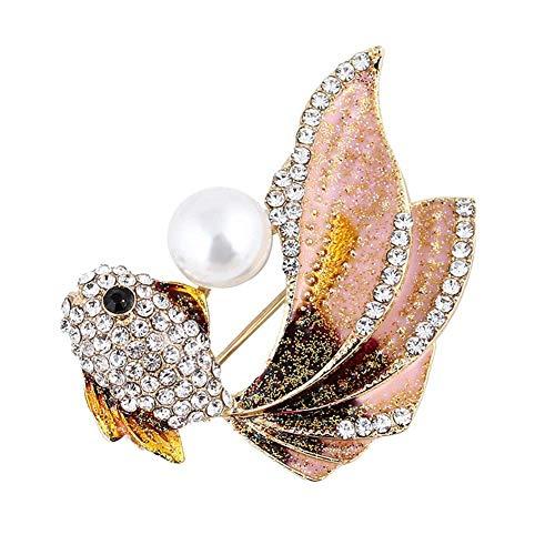 N-K PULABO - Broche de perlas de imitación con diamantes de imitación de perlas de imitación, para solapa, ropa, joyería cómoda y respetuosa con el medio ambiente