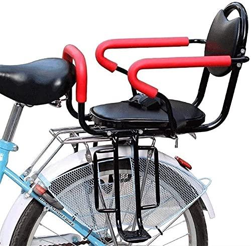 SADWF Bicicleta Asiento Trasero de Seguridad para Niños, Portabicicletas Universal Asiento para Niños Pequeños con Reposabrazos Trasero Pedales