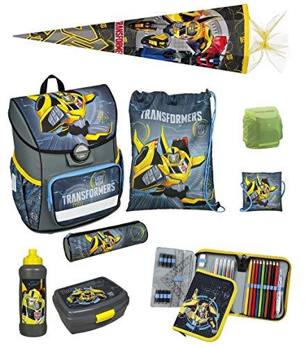 Familando Transformers Schulranzen-Set 9-TLG. Scooli Cosmos mit Federmappe gefüllt, Schultüte 85cm und Regenschutz