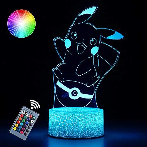 3D Pi-Kachu Toys Night Light 16 Col…