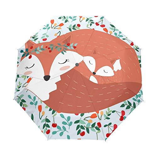 JinDoDo - Paraguas plegable automático con diseño de flores de zorro y cereza, resistente al viento, protector solar para viajes, para mujeres, hombres, niñas y niños