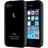 JETech Case Compatible with iPhone 4s and iPhone 4, Shock-Absorption Bumper, Black