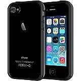 JETech Hülle kompatibel mit iPhone 4s & iPhone 4, Transparente Anti-Kratzer Rückseite, Schwarz