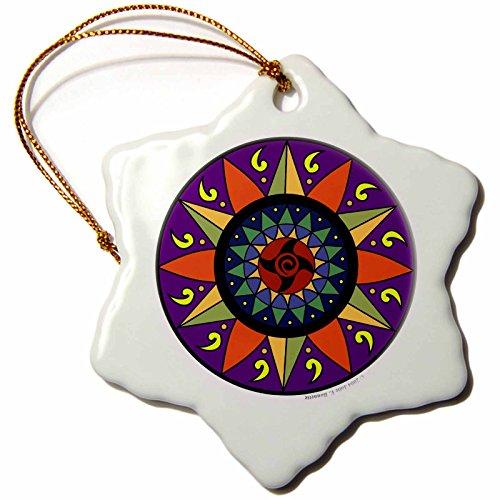 3dRose Hex Sign 2 Pennsylvania Dutch Luck Protection Symbol Snowflake Porcelain Ornament, 3-Inch