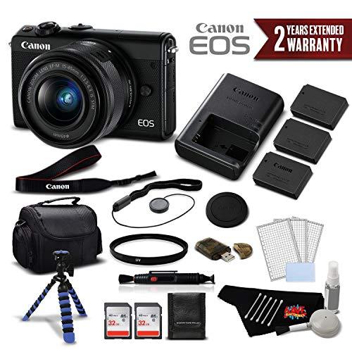 Canon EOS M100 Mirrorless Digital Camera with 15-45mm Lens (Black) 2209C011 International Version - Deluxe Bundle